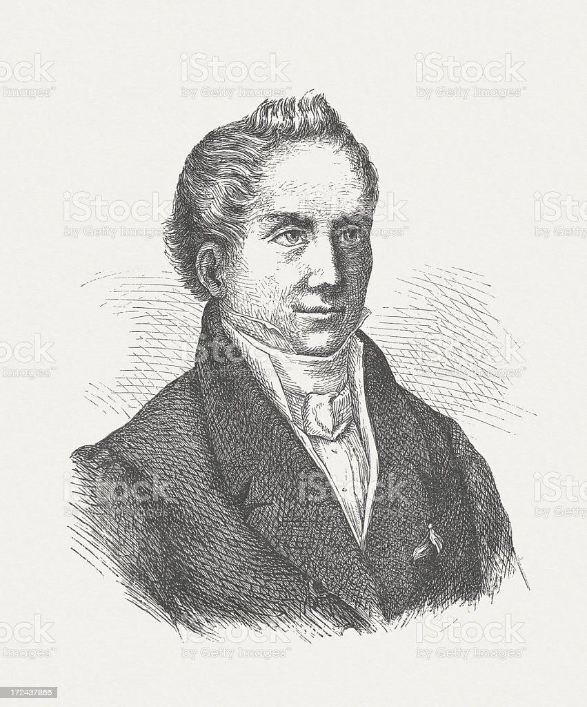 August Wilhelm von Schlegel (1767-1845), German literary historian, published 1882 royalty-free stock vector art