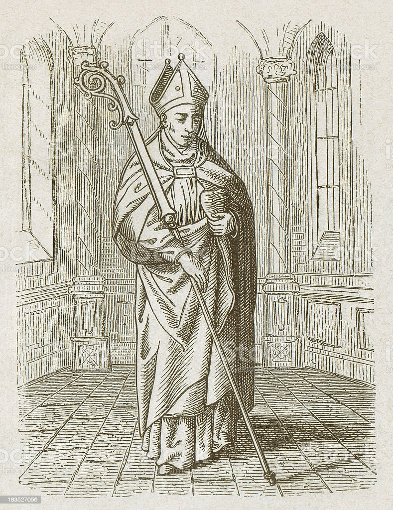 Augustine of Hippo (354-430), wood engraving, published in 1877 vector art illustration
