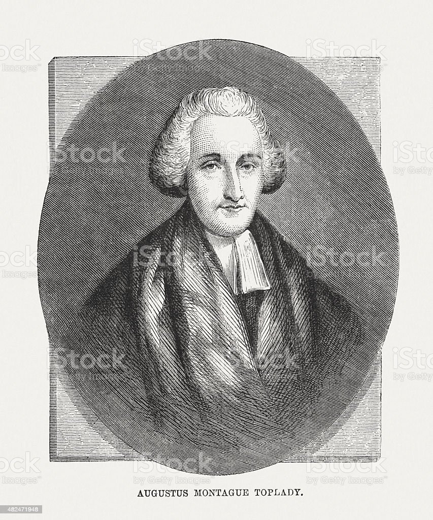 Augustus Montague Toplady (1740 - 1778), Anglican cleric, publ. 1873 vector art illustration