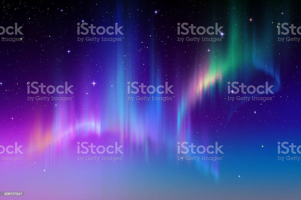 Aurora Borealis abstract background, northern lights in polar sky illustration vector art illustration