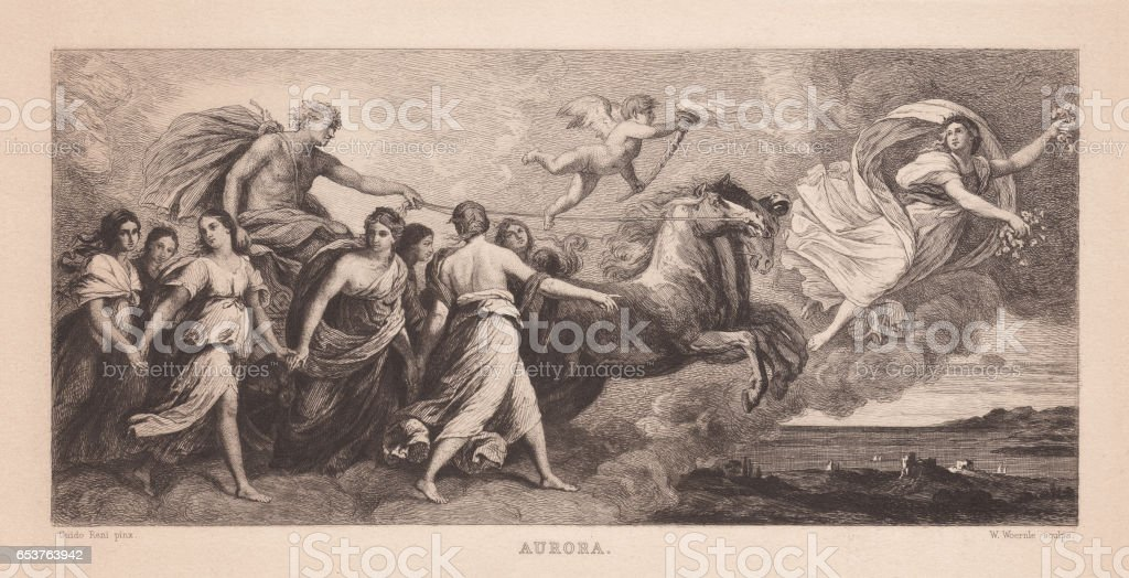 Aurora, painted (1614) by Guido Reni, Rome, Italy, published 1884 vector art illustration