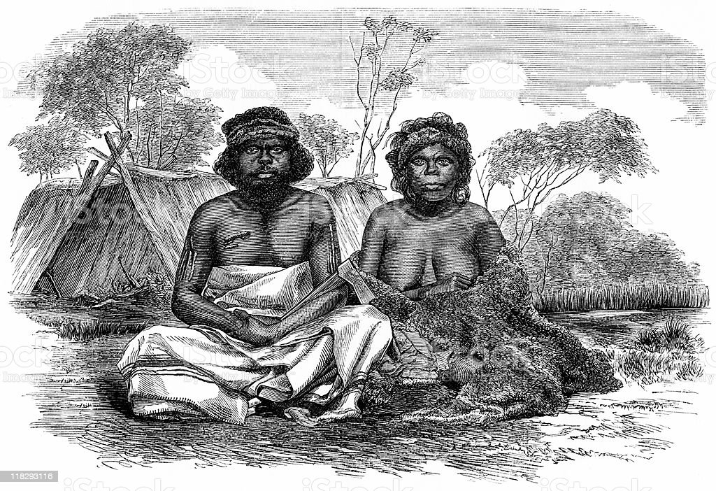 Australia Aborigine Couple, circa 1870s vector art illustration