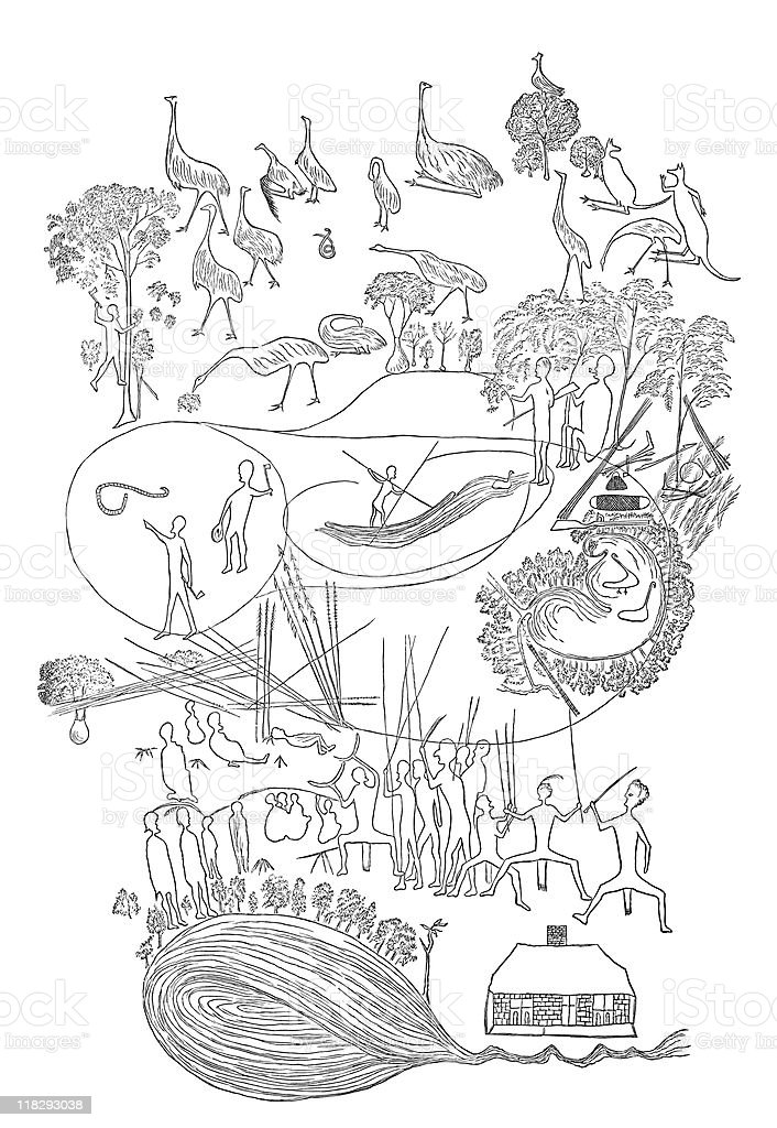 Australia Aborigine Tree Bark Drawing, circa 1800s royalty-free stock vector art