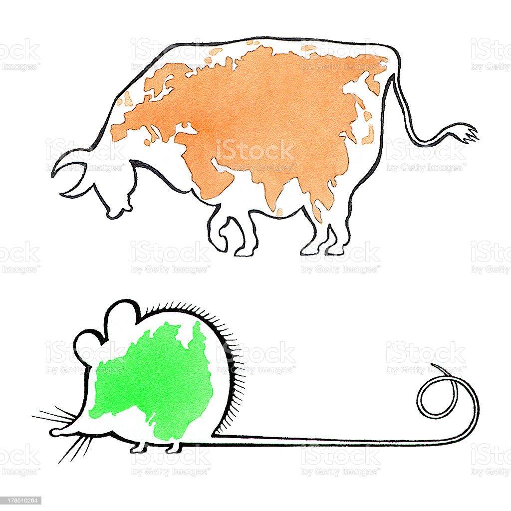 Australia and Eurasia royalty-free stock vector art