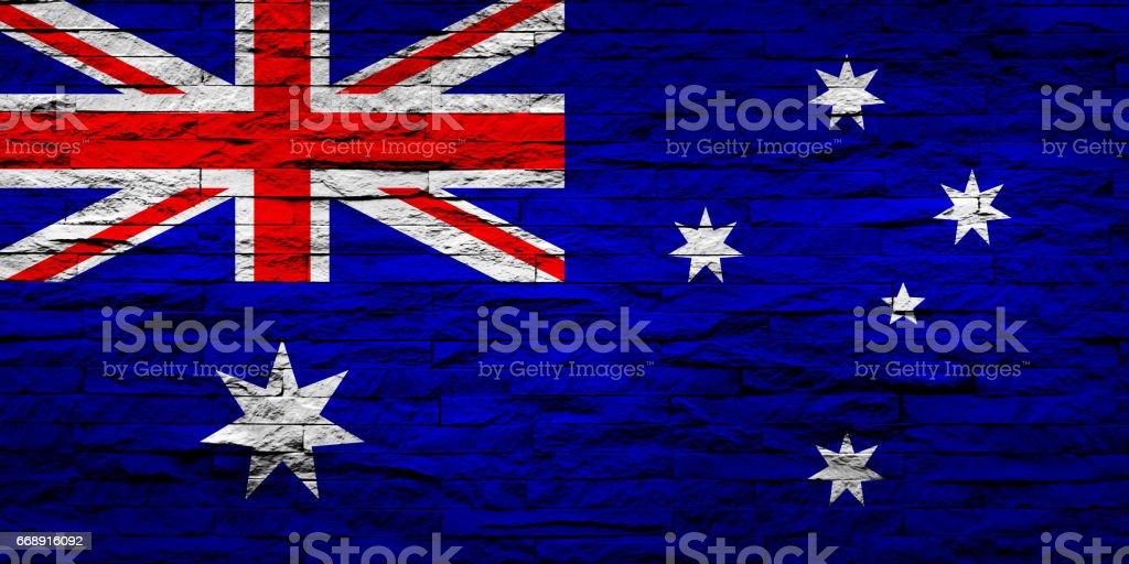 Australia Flag on Brick Wall vector art illustration