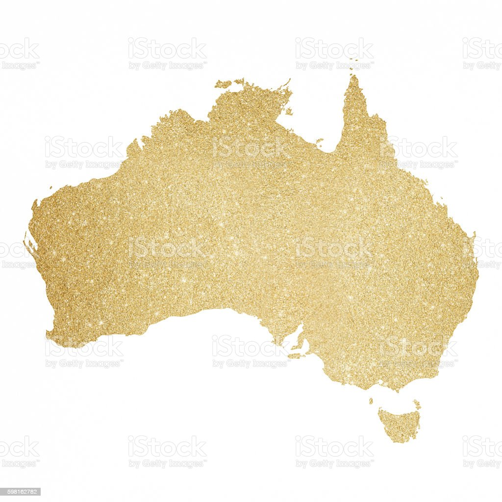 Australia Gold Glitter Map Royaltyfree Stock Vector Art