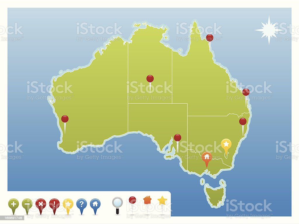 Australia GPS Map Icons royalty-free stock vector art