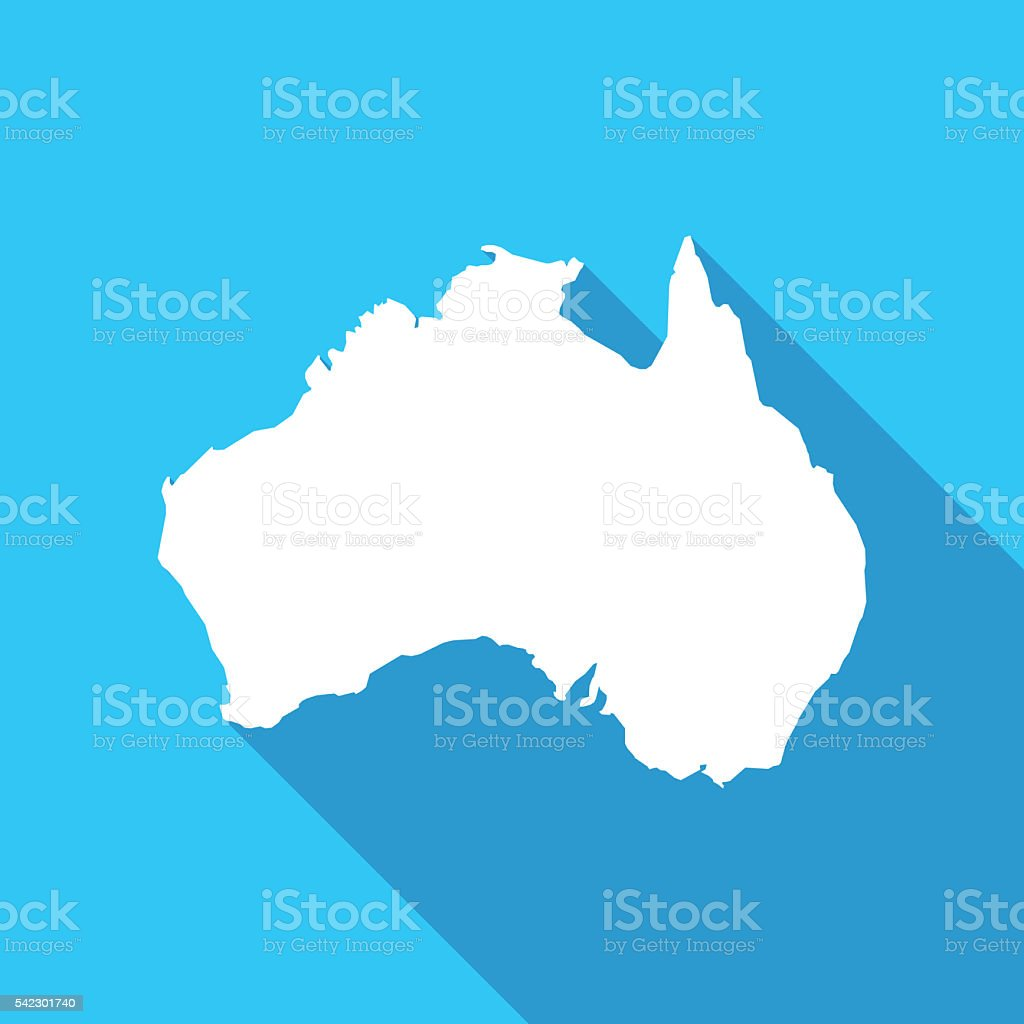 Australia long shadow map in white on a blue background stock photo
