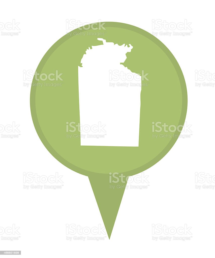Australia Northern Territory State map marker pin vector art illustration