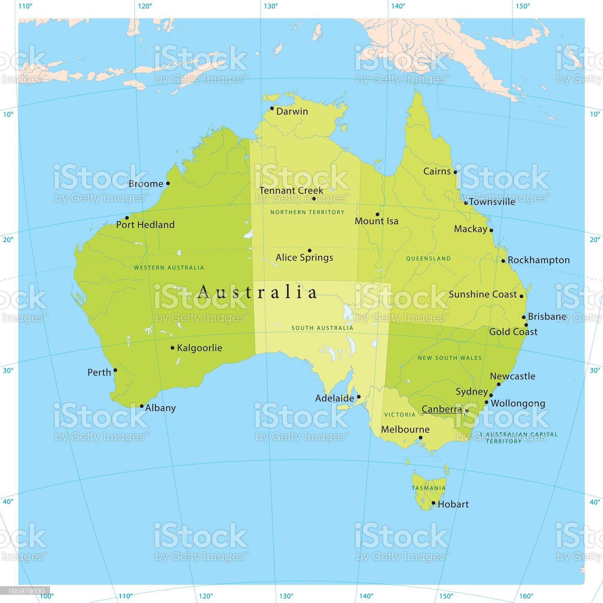 Australia Vector Map royalty-free stock vector art