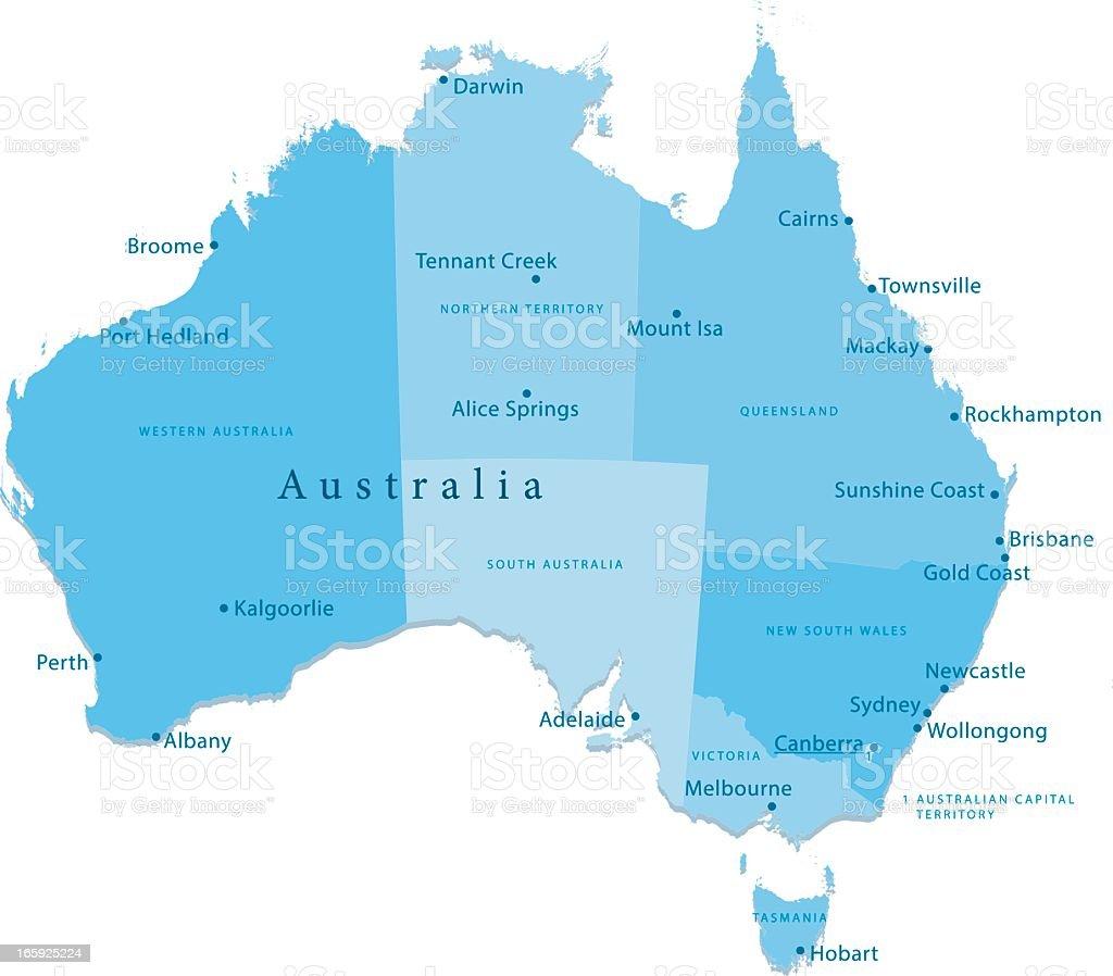Australia Vector Map Regions Isolated royalty-free stock vector art