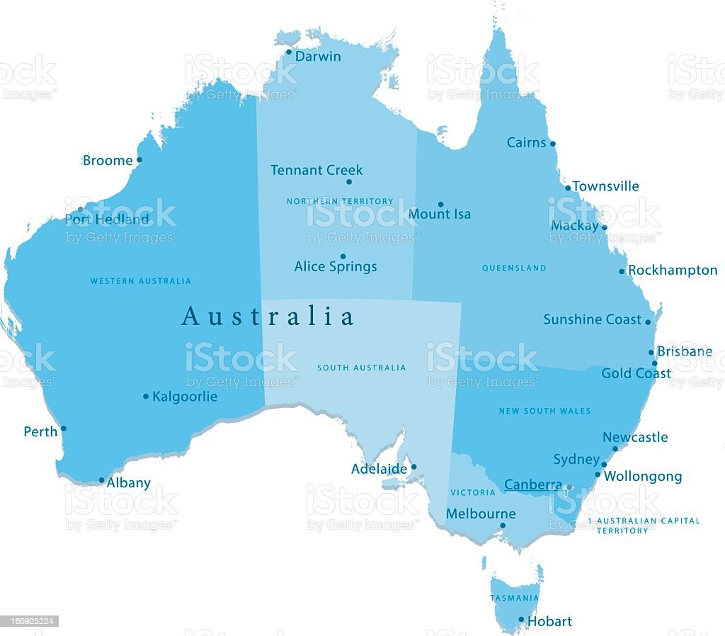 Australia Vector Map Regions Isolated vector art illustration