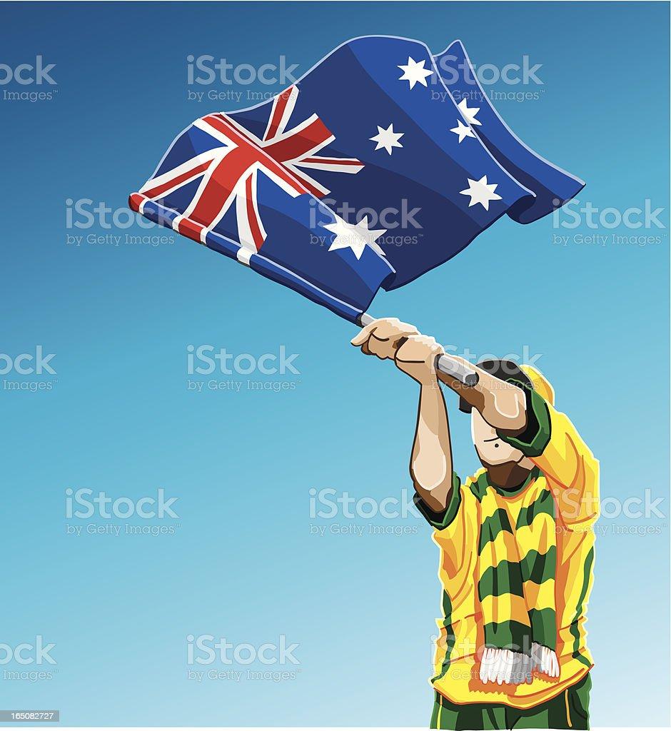 Australia Waving Flag Soccer Fan royalty-free stock vector art