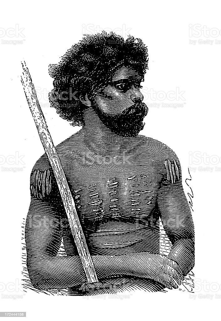 Australian Aborigine from Queensland (antique wood engraving) vector art illustration