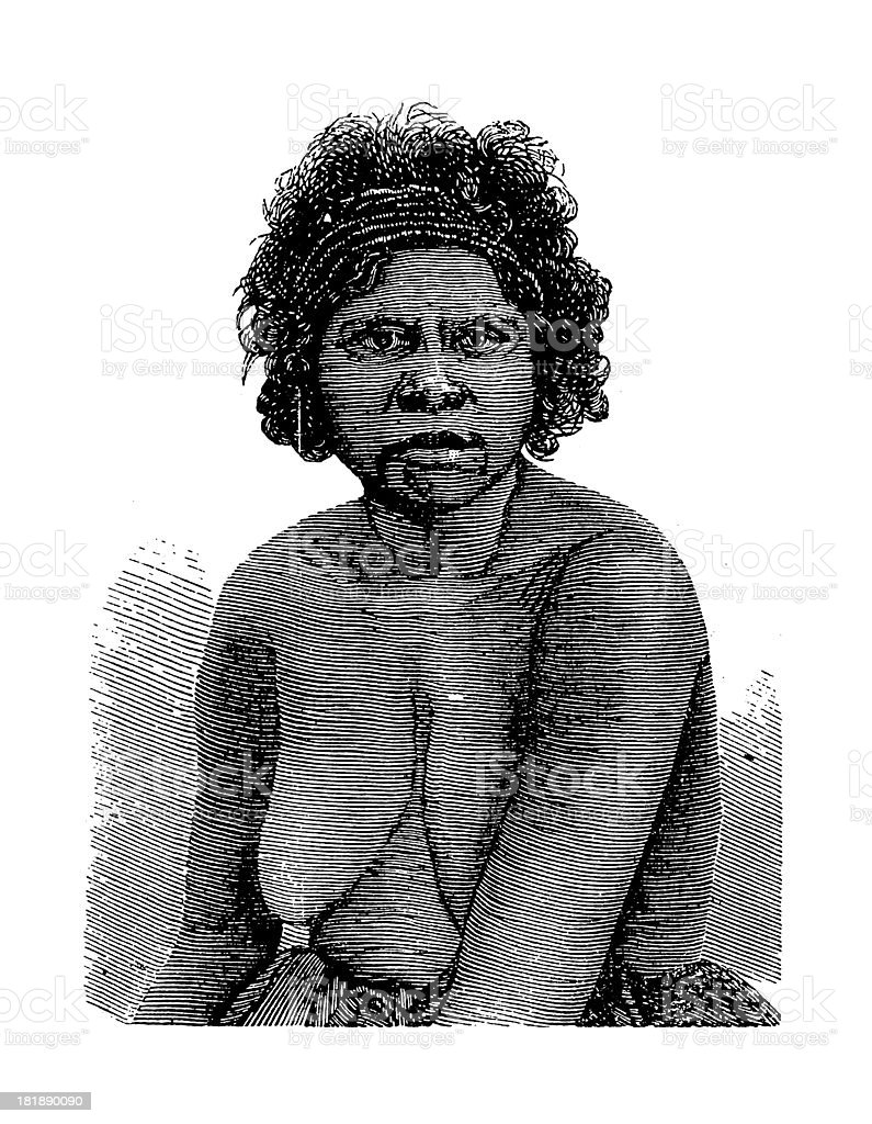 Australian Aborigine Woman from Queensland (antique wood engraving) vector art illustration