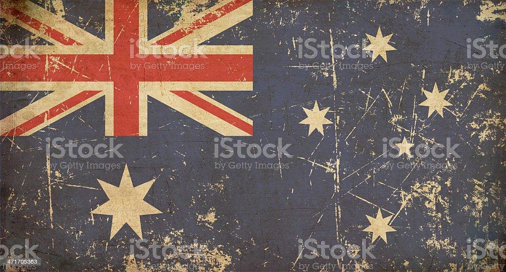 Australian Aged Flat Flag vector art illustration