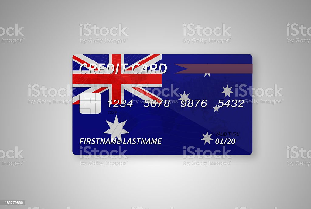 Australian Credit Card on Gradient Background vector art illustration