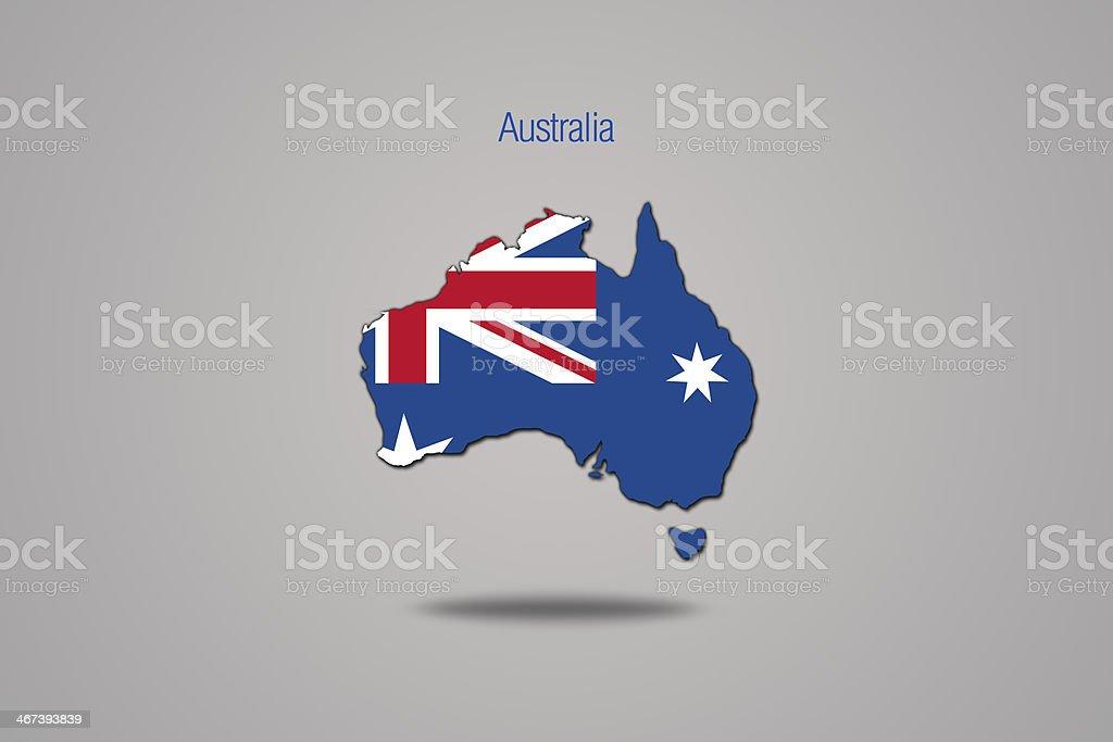 Australian flag in australia map. vector art illustration