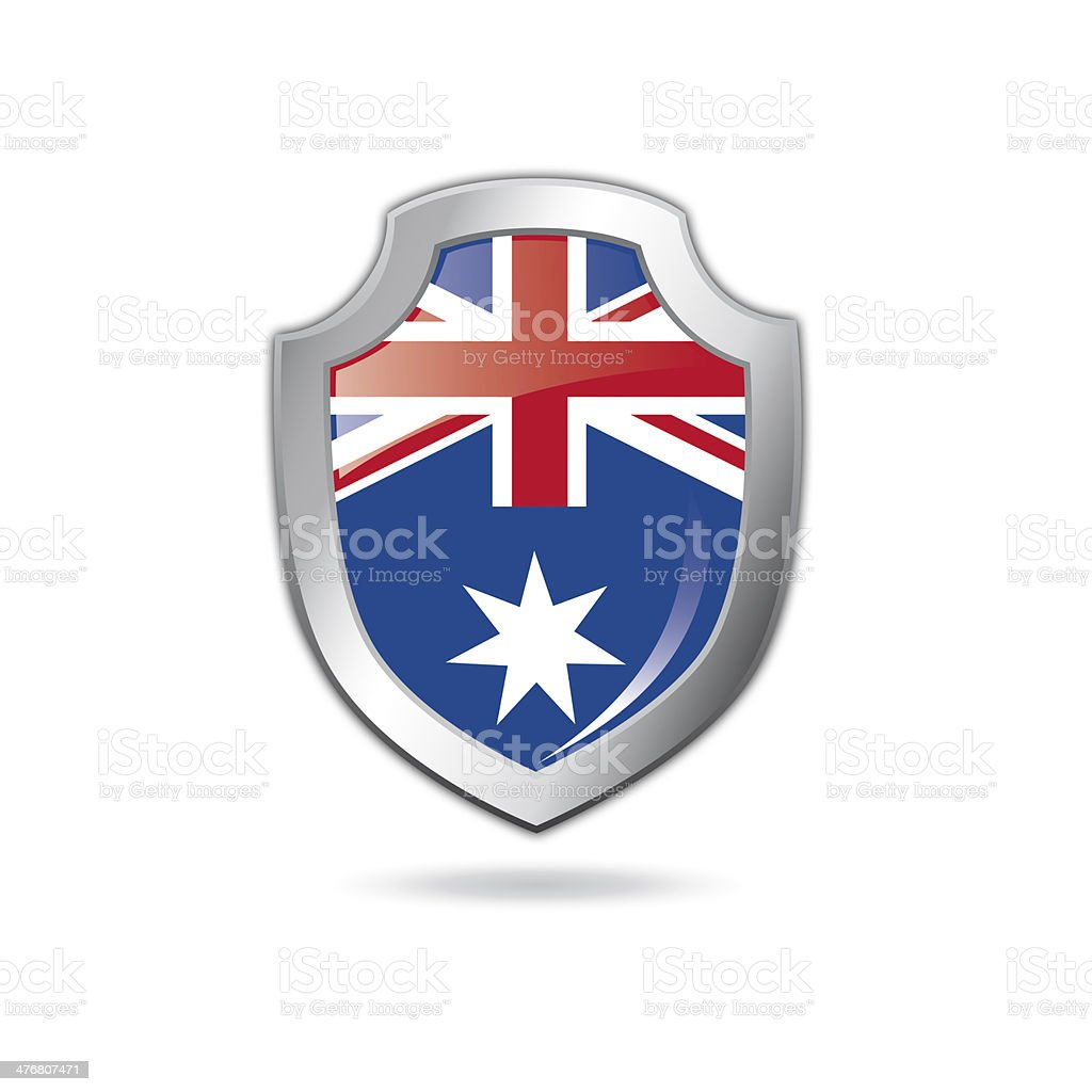 Australian flag shield. vector art illustration