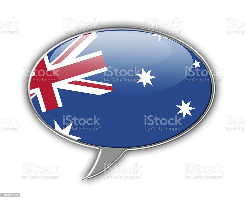 Australian flag speech bubble. vector art illustration