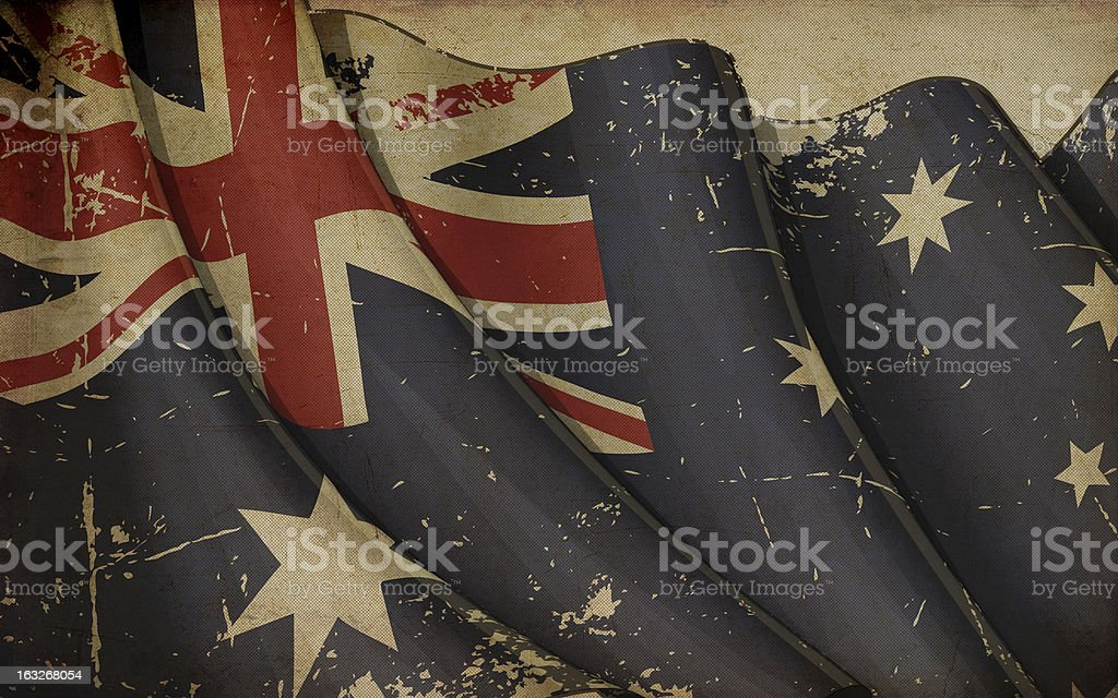 Austratlian Flag Old Paper royalty-free stock vector art