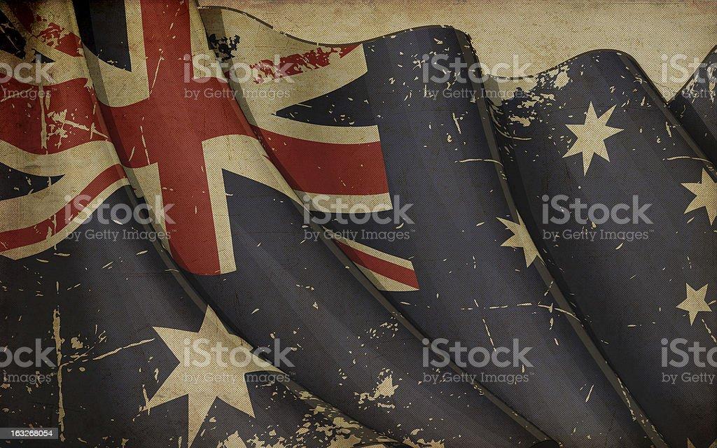 Austratlian Flag Old Paper vector art illustration