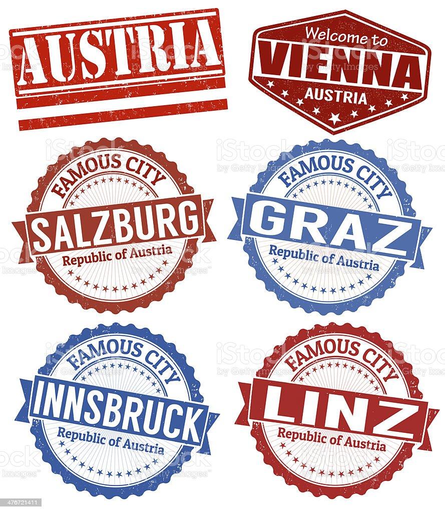 Austria cities stamps set vector art illustration
