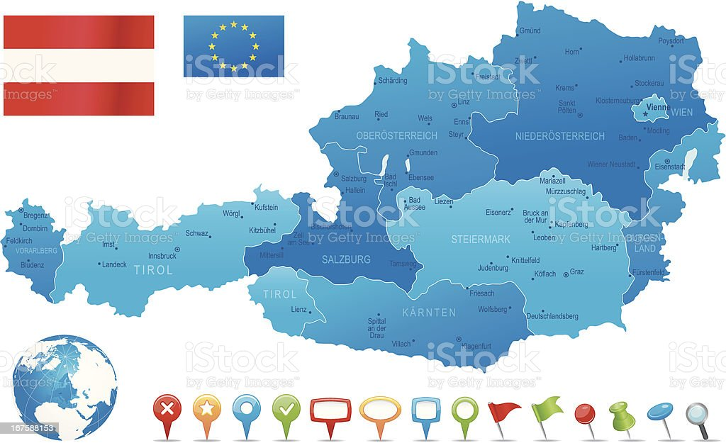 Austria - highly detailed map vector art illustration