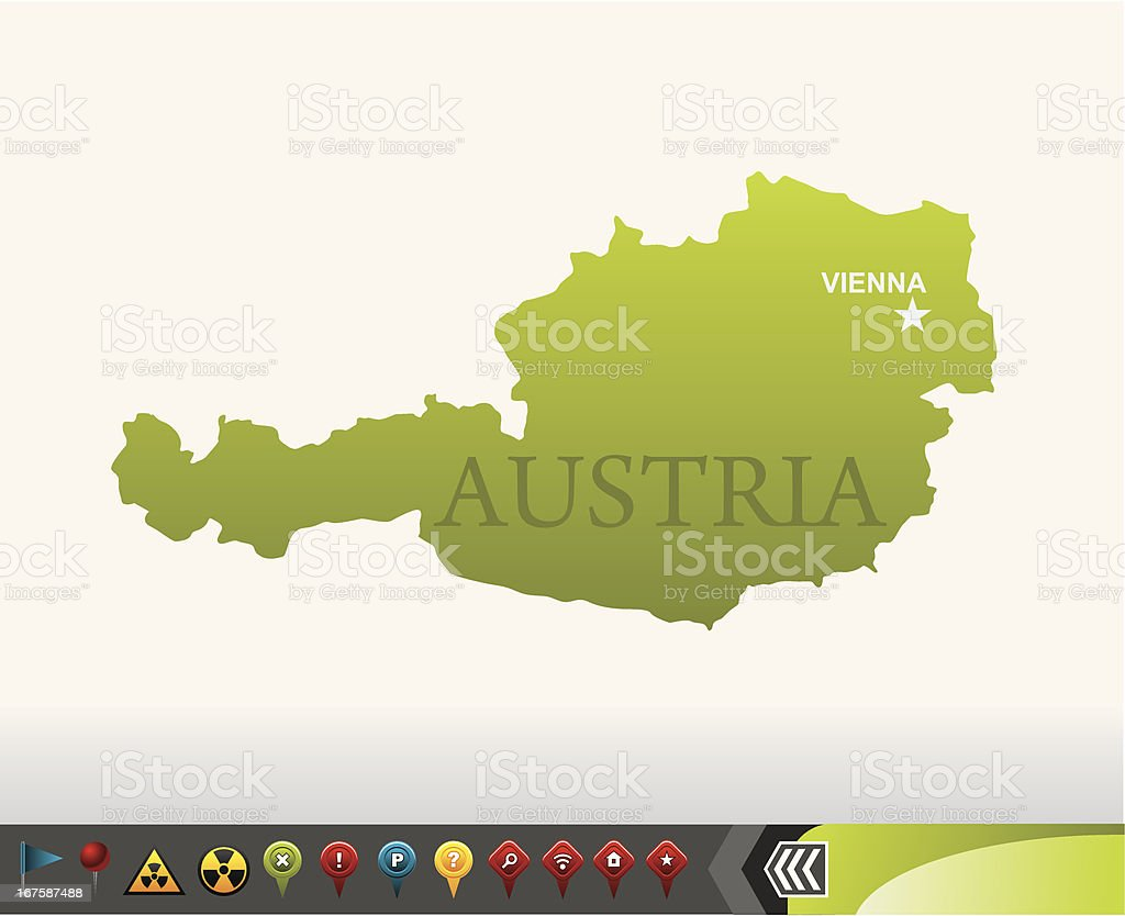 Austria map with navigation icons vector art illustration