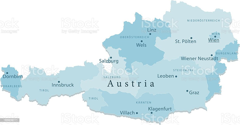 Austria Vector Map Regions Isolated vector art illustration