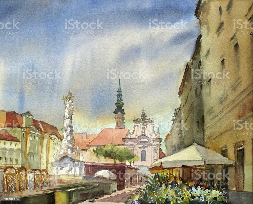 Austrian city Sankt Polten vector art illustration