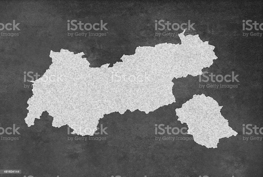 Austrian Federal State of Tyrol or Tirol Outline on Blackboard vector art illustration
