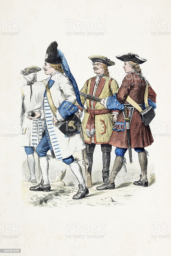 Austrian soldiers in uniform from 1738 royalty-free stock vector art