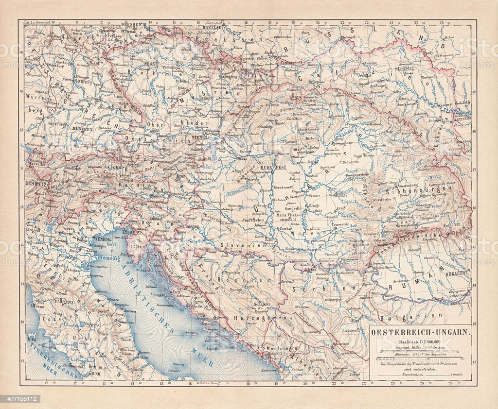Austro-Hungarian Empire, Habsburg Monarchy, lithograph, published in 1877 vector art illustration