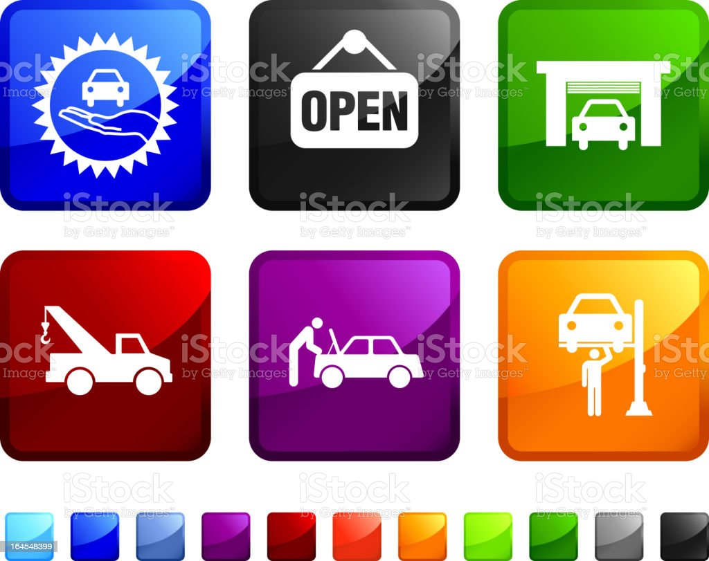 Auto shop Car Service royalty free vector icon set stickers royalty-free stock vector art
