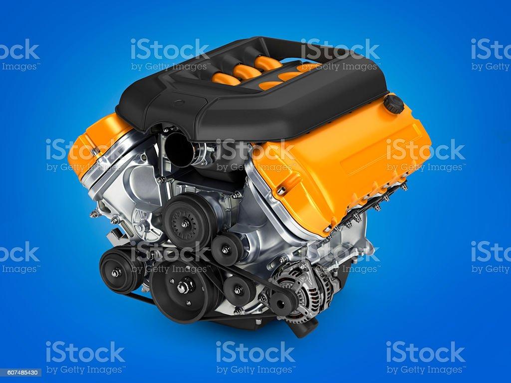 Automotive engine on blue gradient background 3d vector art illustration