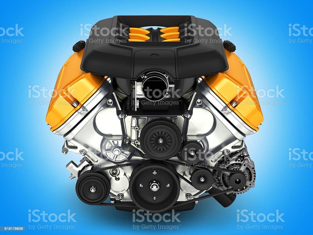 Automotive engine on blue gradient background 3D illustration vector art illustration