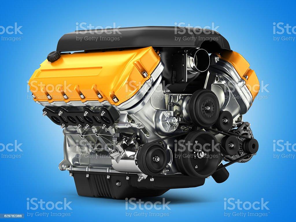 Automotive engine perspective view on blue gradient background 3d vector art illustration