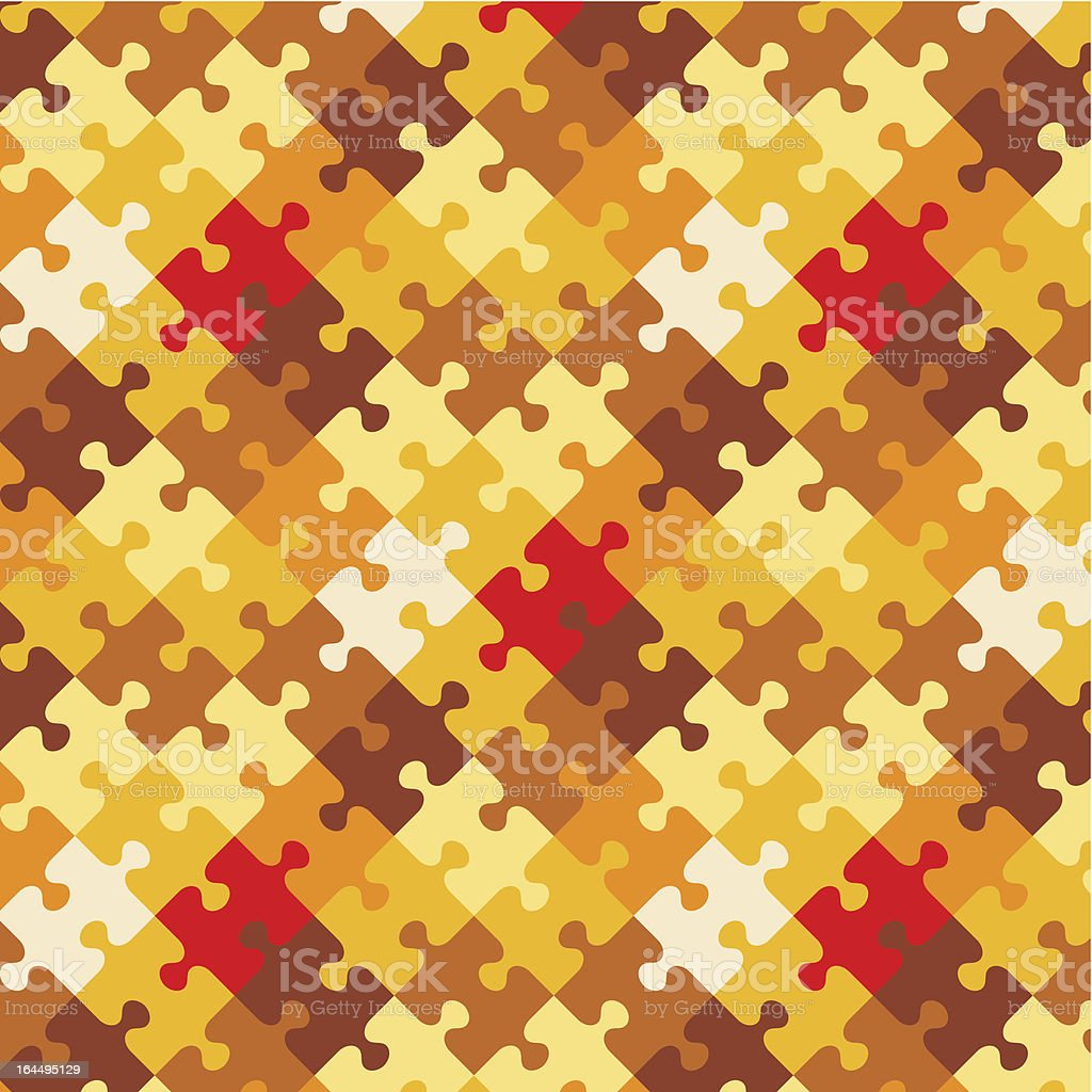 Autumn colors puzzle background, seamless pattern included royalty-free stock vector art