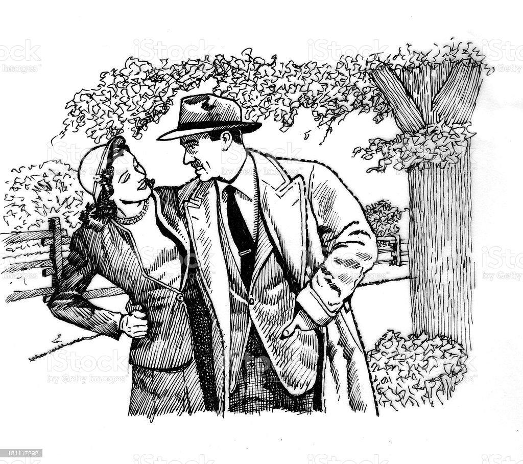Autumn Couple royalty-free stock vector art