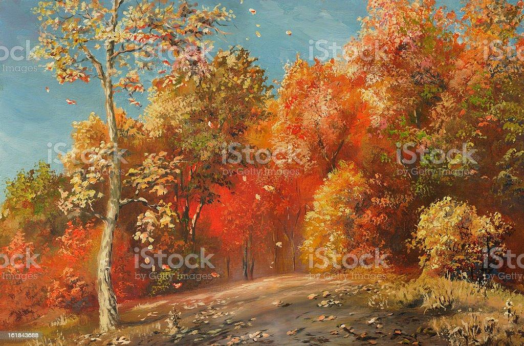 autumn day vector art illustration