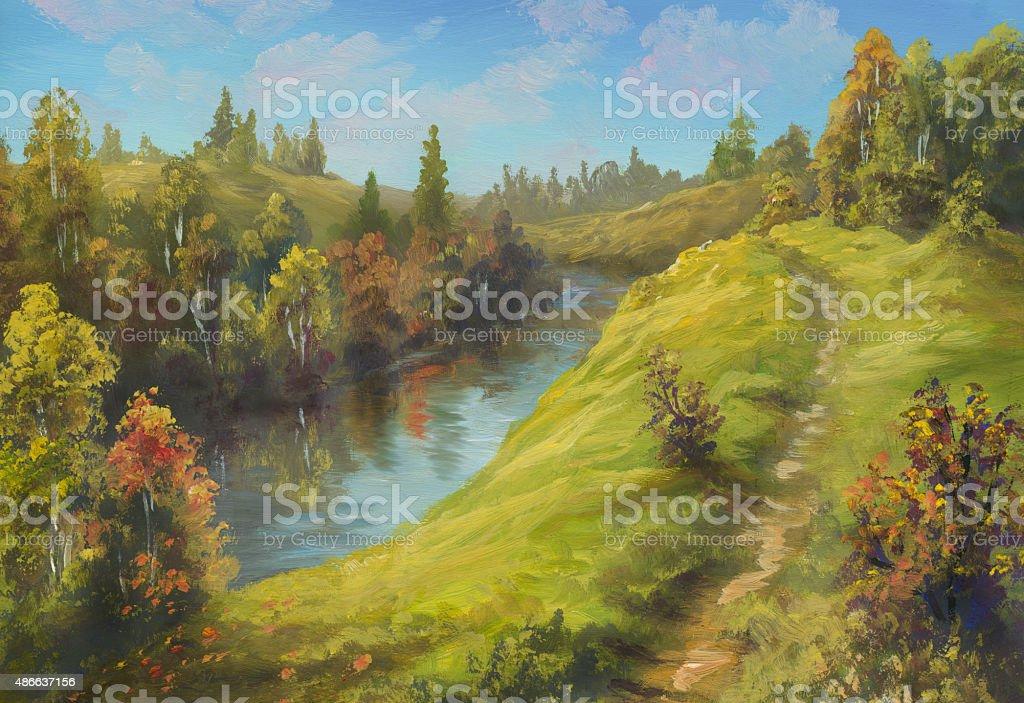 Autumn etude vector art illustration