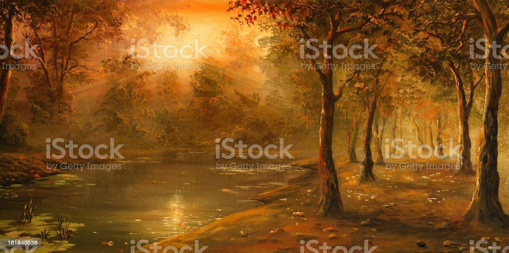 Autumn evening vector art illustration