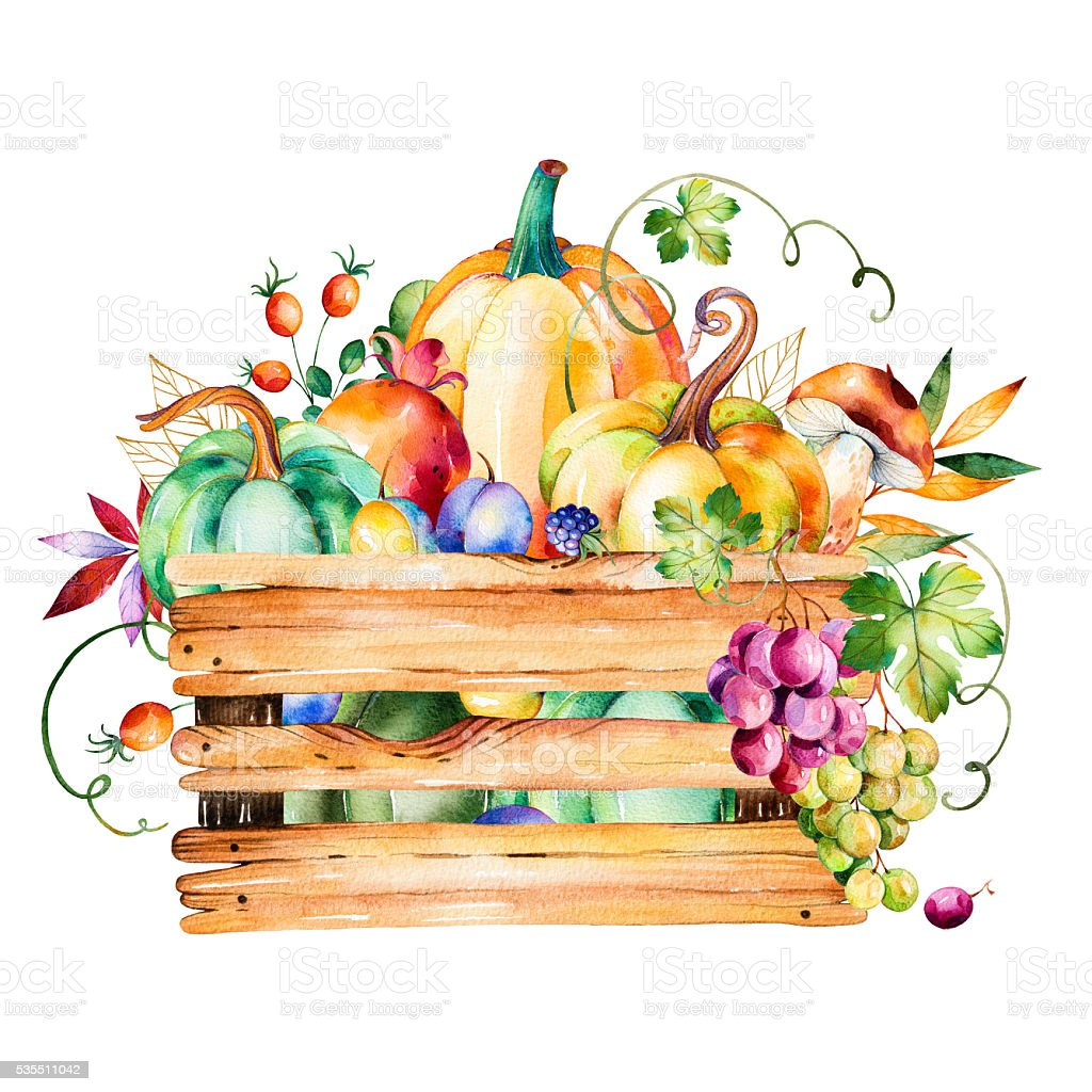 Autumn harvest basket with fall leaves,branches,berry,blackberry,mushroom vector art illustration