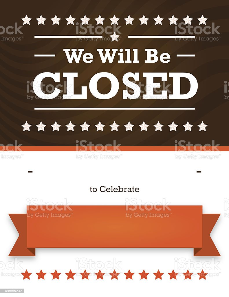 Autumn Holiday Closed Sign for Business vector art illustration