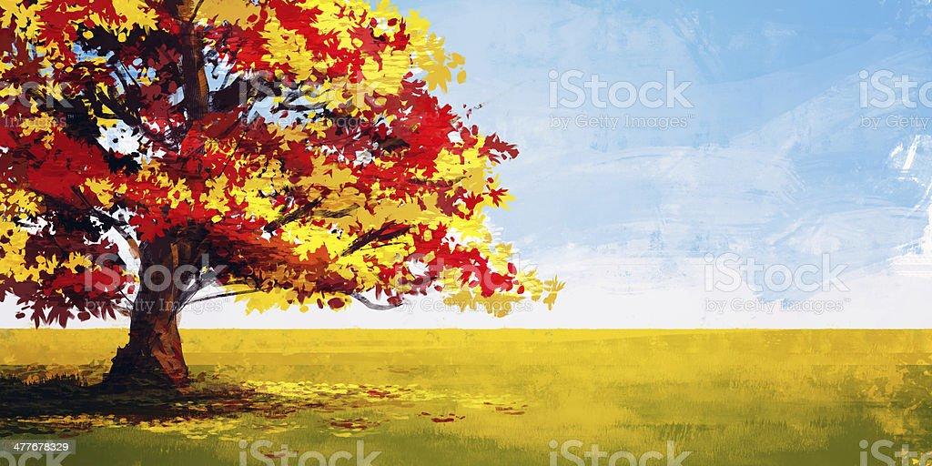 Autumn illustration rough painting style, Landscape vector art illustration