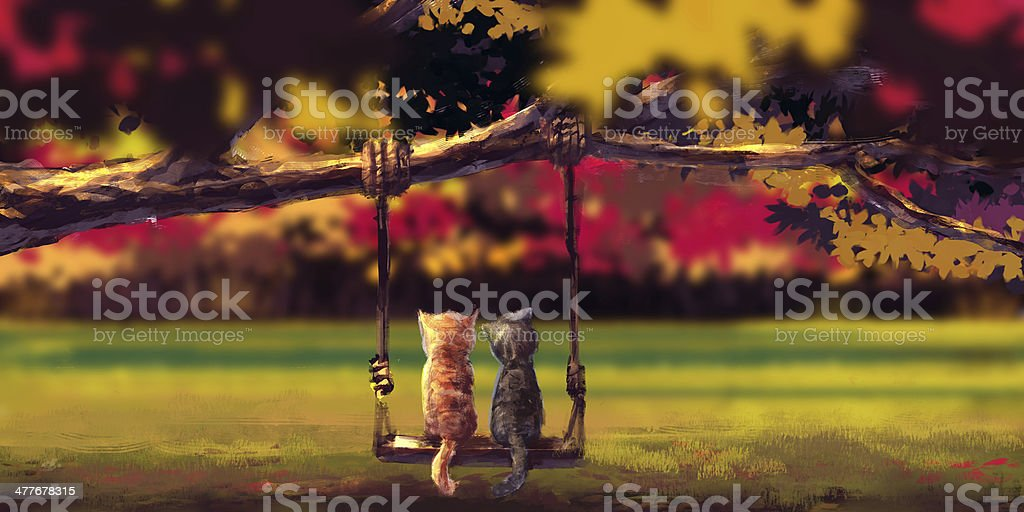 Autumn illustration rough painting style,Two cats on andscape royalty-free stock vector art