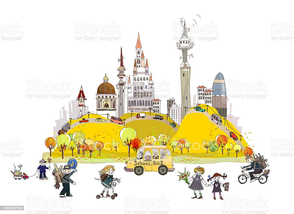 Autumn in the City background vector art illustration
