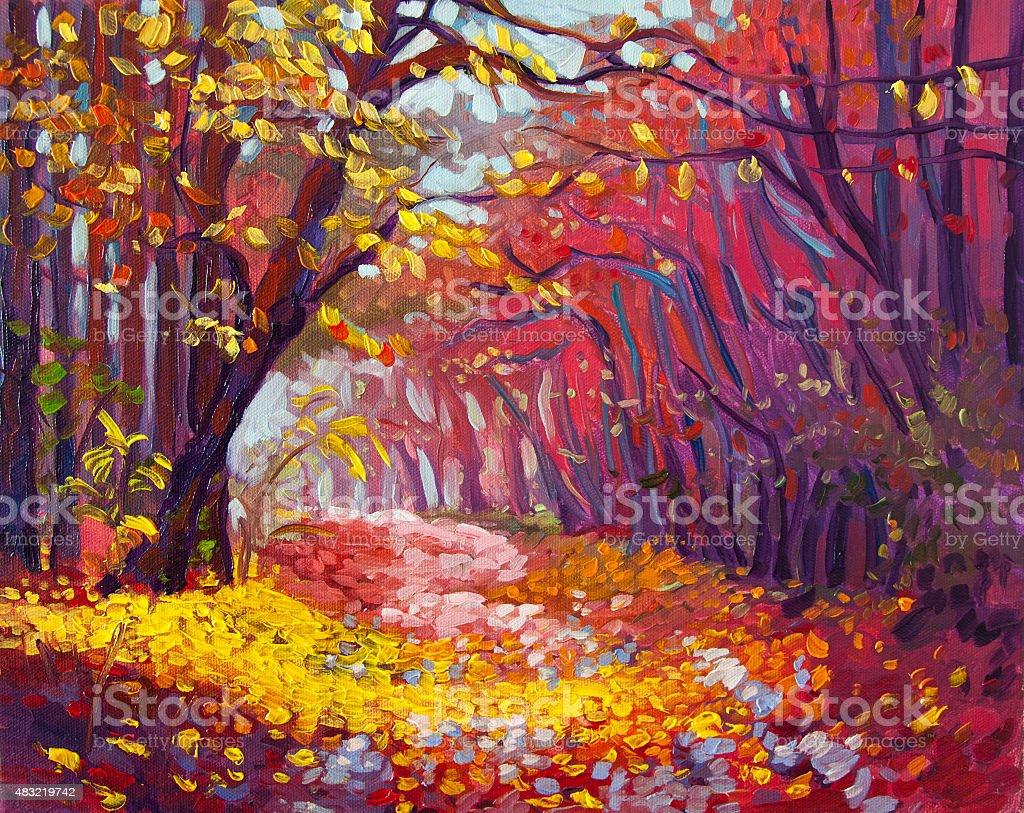 Autumn in the forest. vector art illustration