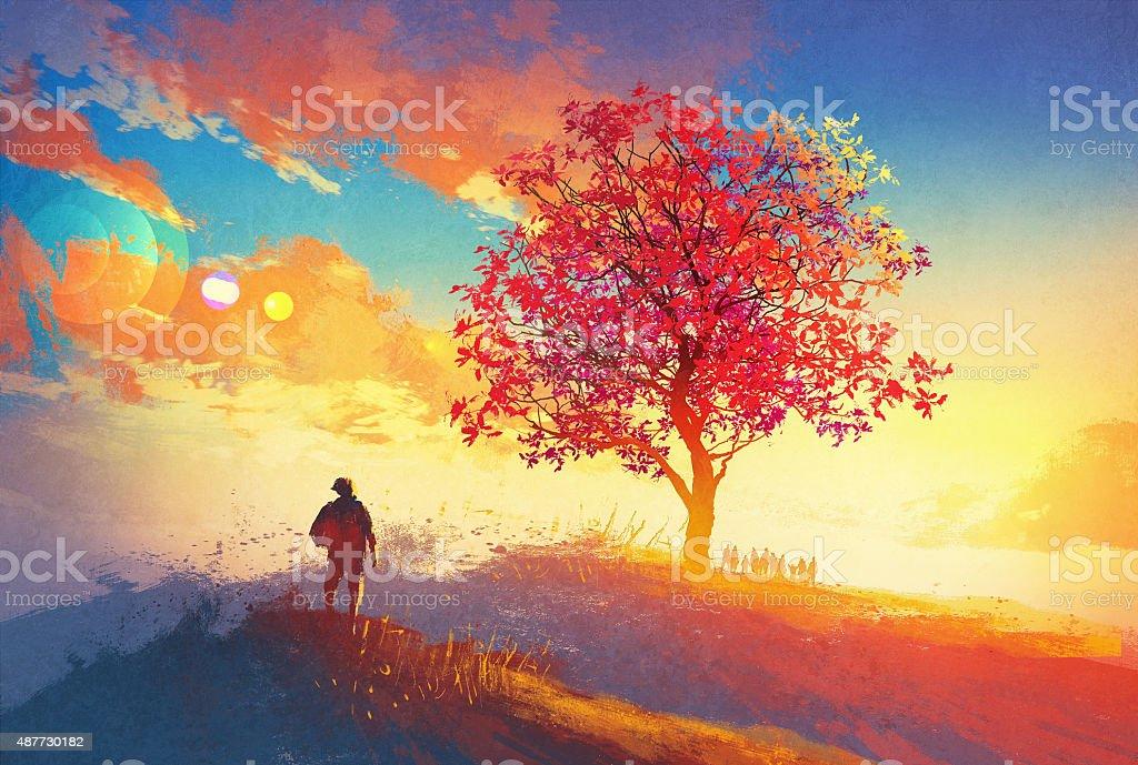 autumn landscape with alone tree on mountain vector art illustration